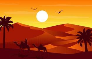 cavalier de chameau traversant une vaste colline du désert illustration de paysage arabe vecteur