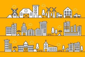 conception d'illustration de ligne de ville. paysage de la ville de fine ligne. illustration vectorielle de la vie urbaine. vecteur