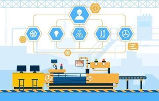 usine industrielle avec bande transporteuse et illustration d'assemblage robotique