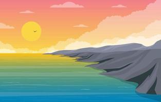 belle illustration de paysage de plage panorama vecteur