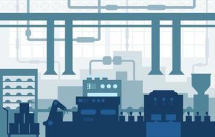 usine industrielle avec bande transporteuse et illustration d'assemblage robotique vecteur