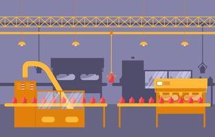 bande transporteuse d'usine industrielle et illustration d'assemblage robotique vecteur
