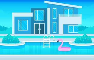 extérieur de villa de maison moderne avec piscine à illustration de cour