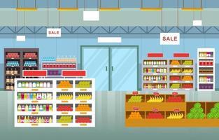 illustration de plat intérieur supermarché épicerie vecteur