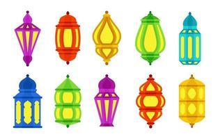 ensemble de collection d'icônes colorées lanterne arabe islamique