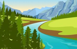 paysage naturel avec rivière sinueuse, montagnes et forêt vecteur