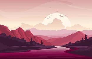 scène de paysage du matin avec rivière, forêt et collines vecteur