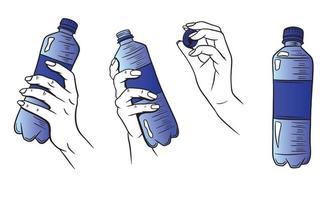 eau dans une bouteille en plastique avec jeu de mains vecteur