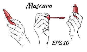 mascara en mains ensemble vecteur