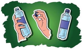 eau dans un ensemble de bouteilles en plastique vecteur