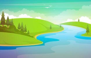 paysage naturel avec rivière sinueuse, montagnes et forêt