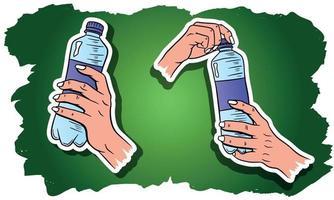 Journée mondiale de l'eau. eau dans une bouteille en plastique. bouteille d'eau à la main. ensemble d'illustrations vectorielles. vecteur