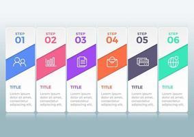 diagramme infographique de vecteur. modèle pour entreprise, présentations, web avec options en 6 étapes