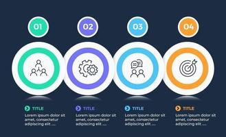 modèle de conception infographique de vecteur avec 4 étapes d'options