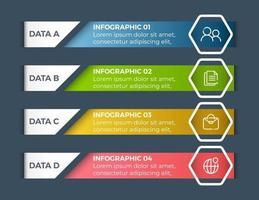 modèle de conception d'étiquette infographie vectorielle avec icônes et 4 options ou étapes
