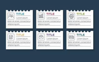 modèle de conception d'étiquette infographie vectorielle avec icônes et 6 options ou étapes