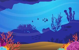 scène sous-marine avec illustration de poissons et récifs coralliens