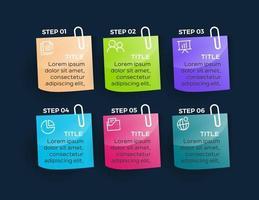 infographie de l'entreprise. chronologie avec 6 étapes ou options
