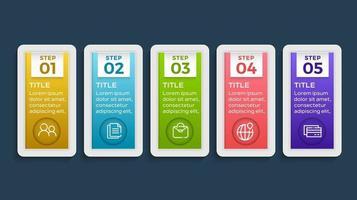 modèle d'infographie de présentation entreprise avec 5 options. illustration vectorielle