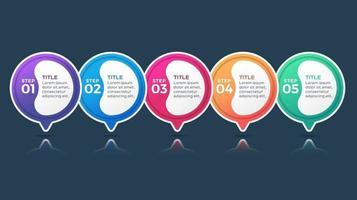 modèle de conception d'étiquette infographie vectorielle avec icônes et 5 options ou étapes