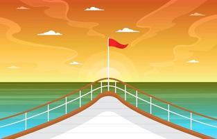 pont de bateau de croisière avec illustration du lever du soleil et de l'océan