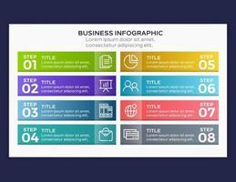 infographie de l'entreprise. chronologie avec 8 étapes ou options