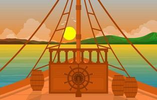 pont du capitaine avec roue de navigation et illustration de l'horizon de l'océan