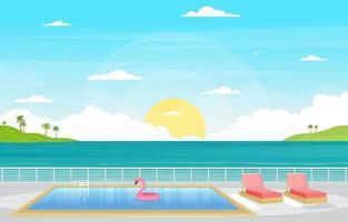 pont de bateau de croisière avec illustration de l'horizon de l'océan
