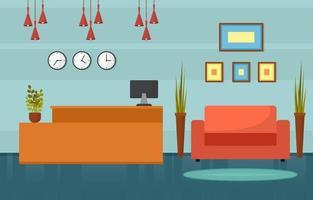 hall de l'hôtel avec réception et illustration de meubles