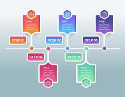 infographie de l'entreprise. chronologie avec 5 étapes ou options
