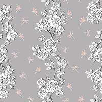 Jardin de roses blanches en fleurs avec modèle sans couture de libellule