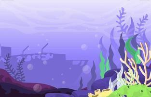 scène sous-marine avec navire coulé et illustration de récif de corail