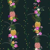 ananas avec des fleurs tropicales colorées et feuilles modèle sans couture sur fond de nuit d'été sombre