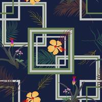 motif sans soudure géométrique avec des fleurs tropicales et des feuilles sur fond bleu marine