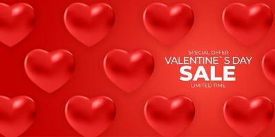 conception de bannière de vente de la saint-valentin avec des formes de coeur réalistes 3d