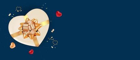 bannière de la saint valentin fond bleu foncé