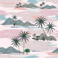 île de nature dessinée à la main sur un modèle sans couture d'humeur pastel doux