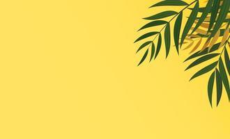 feuilles de palmier vert et or tropicales réalistes naturelles sur fond jaune