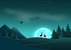 joyeux noël et bonne année scène, conception d'art papier avec le père noël venant la nuit sur la forêt