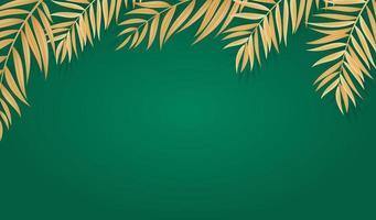 feuilles de palmier tropical réaliste abstraite sur fond vert.