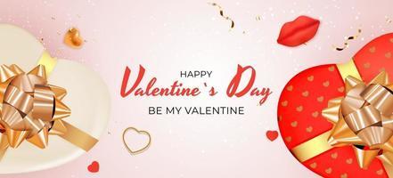 bannière de la Saint-Valentin avec boîte-cadeau en forme de coeur sur fond rose