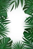 Fond de feuilles de palmier tropical vert vertical réaliste naturel.