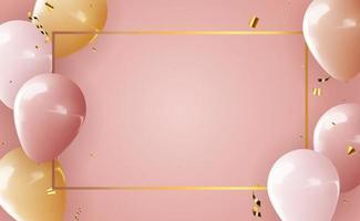 fond de ballons 3d réalistes pour fête, vacances, anniversaire, carte de promotion, affiche. illustration vectorielle