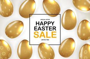 modèle d'affiche de Pâques avec des oeufs de Pâques dorés réalistes 3d. modèle pour la publicité, affiche, flyer, carte de voeux. illustration vectorielle