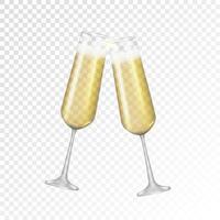 champagne en verre doré 3d réaliste isolé