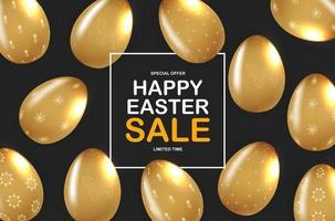 modèle d'affiche de Pâques avec des oeufs de Pâques d'or réalistes 3d sur fond noir