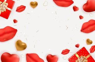 conception de fond de la Saint-Valentin avec des lèvres et des coeurs réalistes. modèle pour la publicité, le Web, les médias sociaux et les annonces de mode. affiche, flyer, carte de voeux. illustration vectorielle