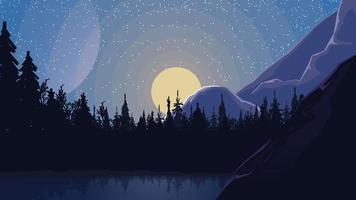lac dans une pinède au pied de la montagne, ciel étoilé et lune montante.