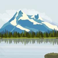 montagnes enneigées, prairies verdoyantes avec pinède et lac. illustration vectorielle