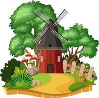 maison de moulin à vent de campagne isolée vecteur